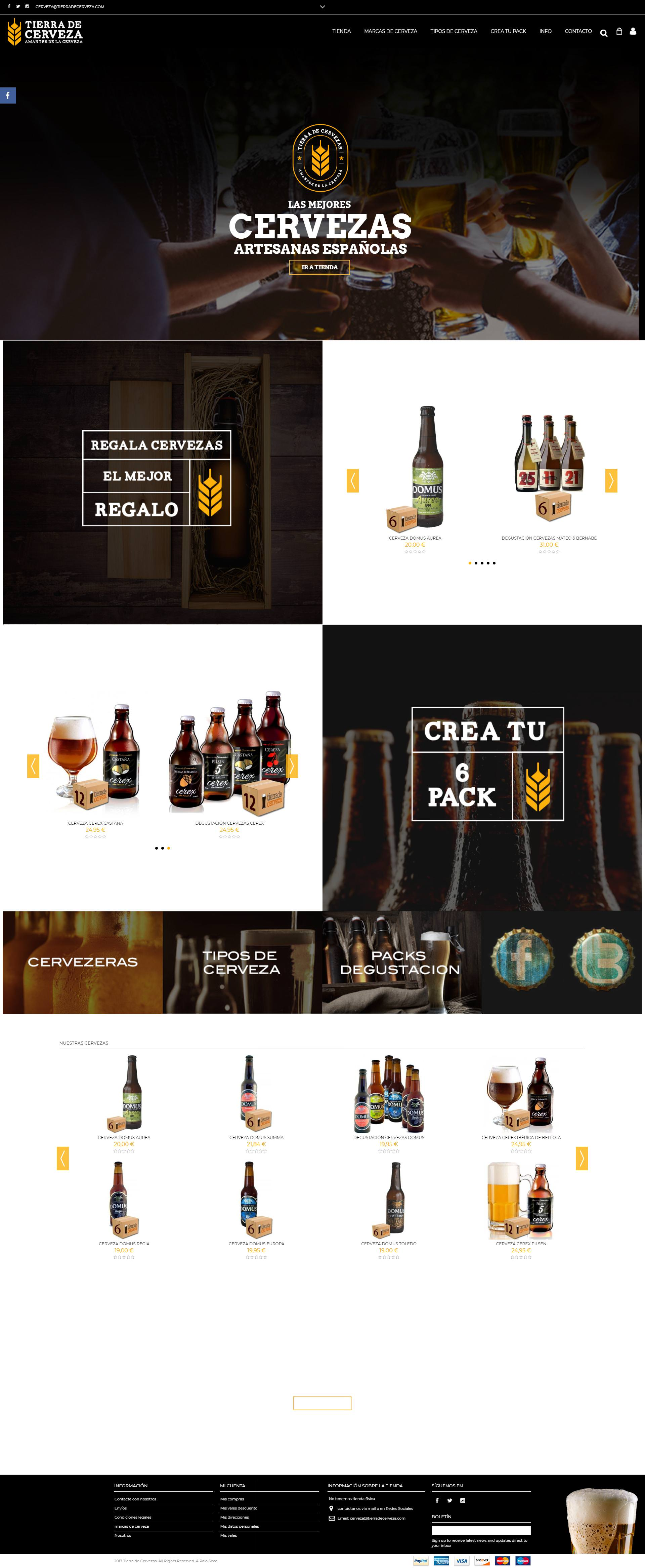 Tierras de Cerveza Diseño E-commerce